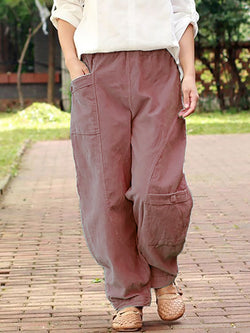 Solid Pockets Casual Linen Pants