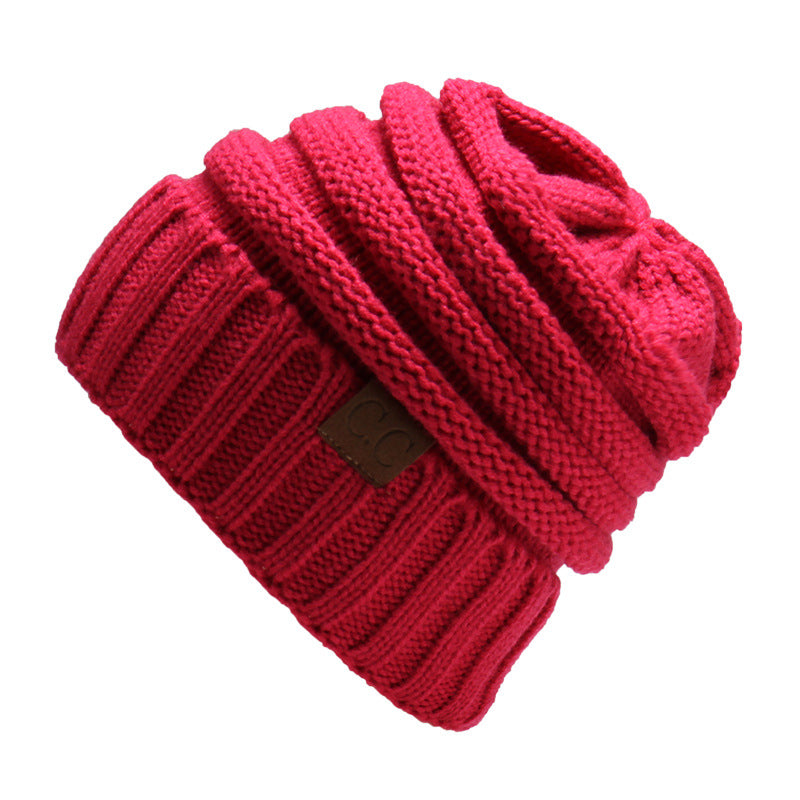 Women Men Warm Soft Knitting Bonnet Hats Winter Outdoor Snow Leisure Stripes Casual Beanie Cap