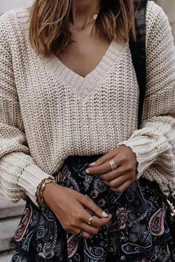 Knitted Solid Casual V Neck Sweater