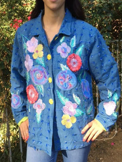 Plus Size Vintage Long Sleeve Casual Floral Outerwear