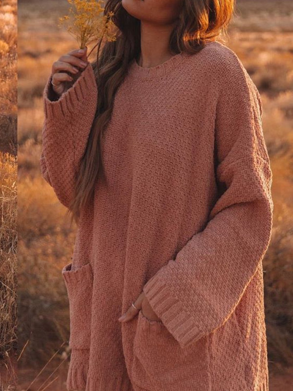 Long Sleeve Casual Solid Pockets Sweater