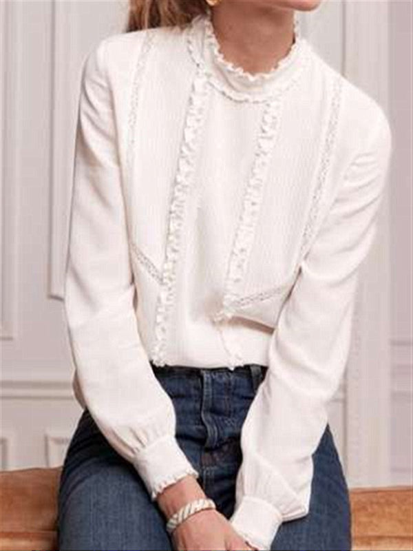 Casual Vintage French Style Sweet Daily White Chiffon Long Sleeve Blouse
