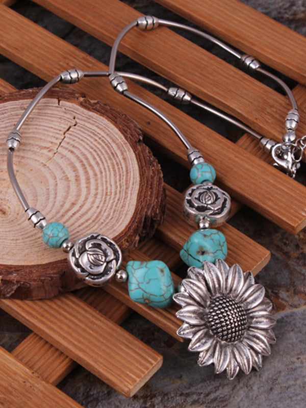 Vintage Sunflower Turquoise Necklace
