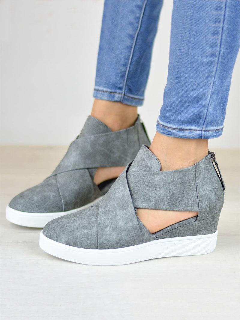 Womens Spring Cut Out Ankle Boots Wedge Sneakers Plus Size Shoes