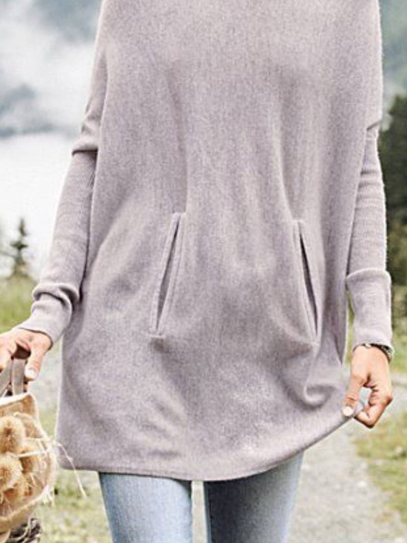 Gray Plain Long Sleeve Cotton Shirts & Tops