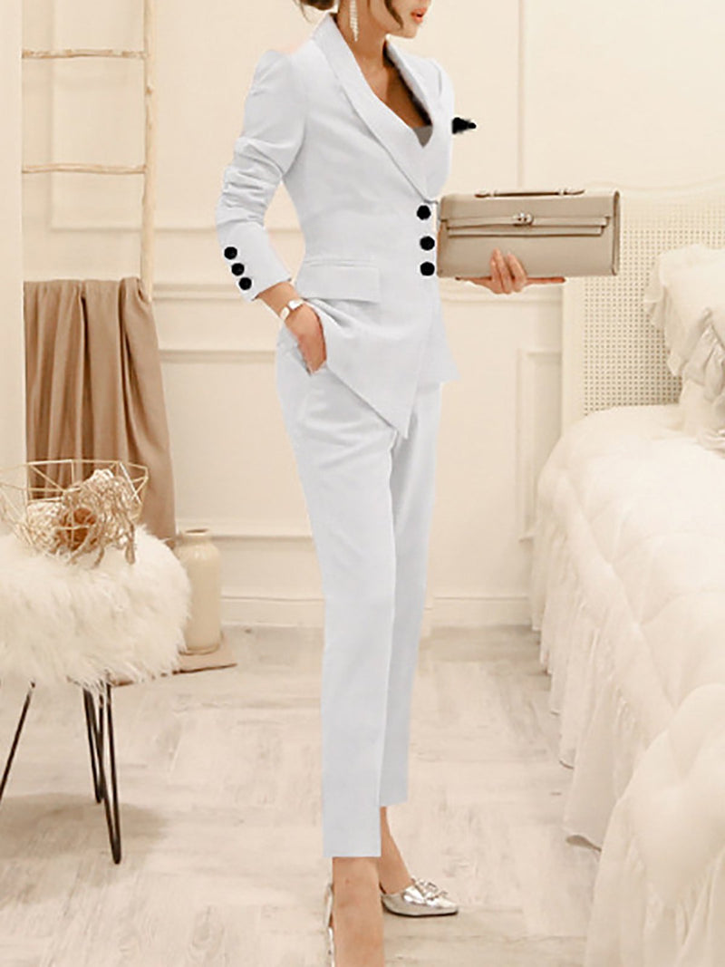 Work Solid Buttoned  Sheath Coat With Pants Two-Piece Set