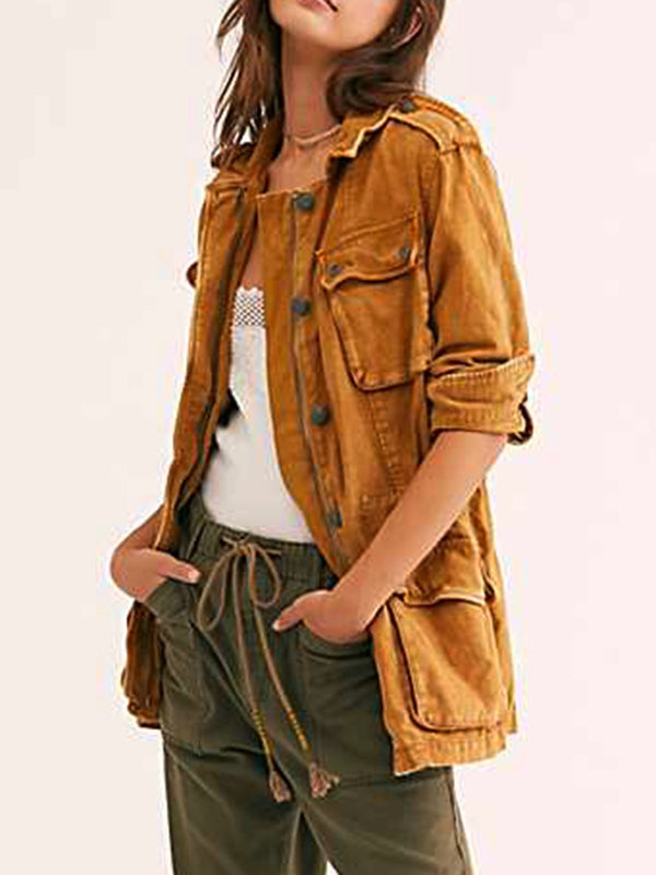 Brown Casual Plain Cotton-Blend Outerwear