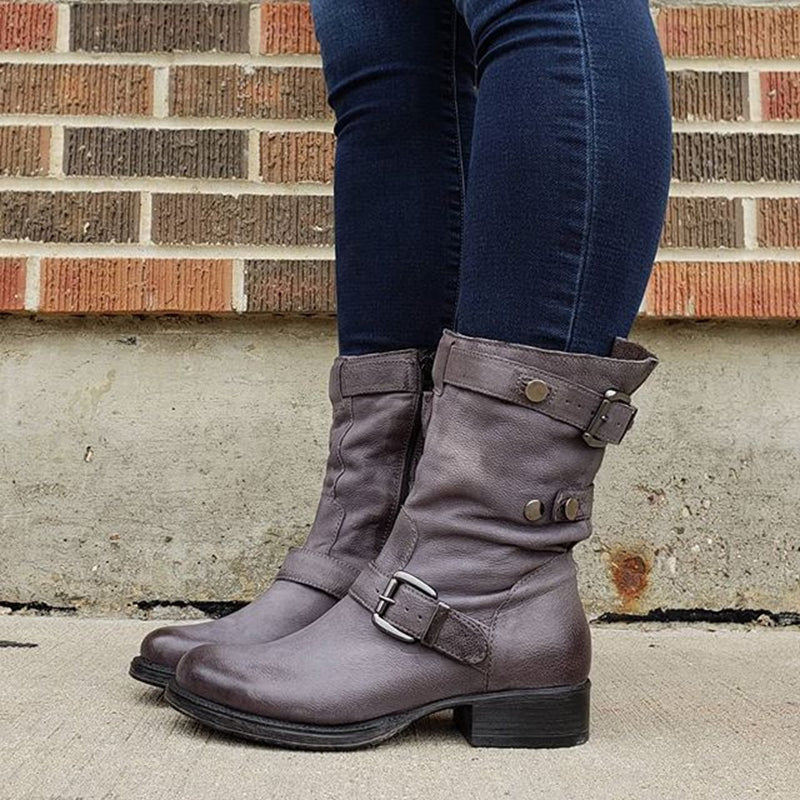 Women Casual Round Toe Low Heel Zipper Comfy Boots