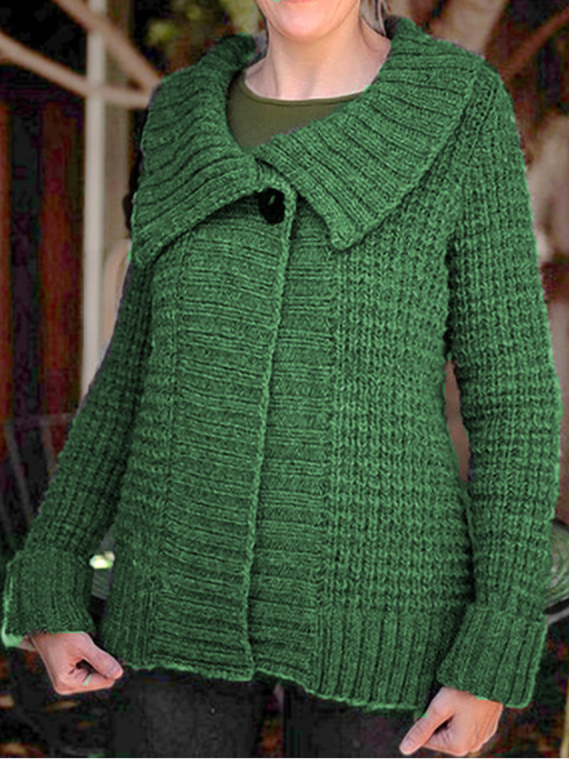 Plus Size Casual Solid Long Sleeve Knitted Outerwear