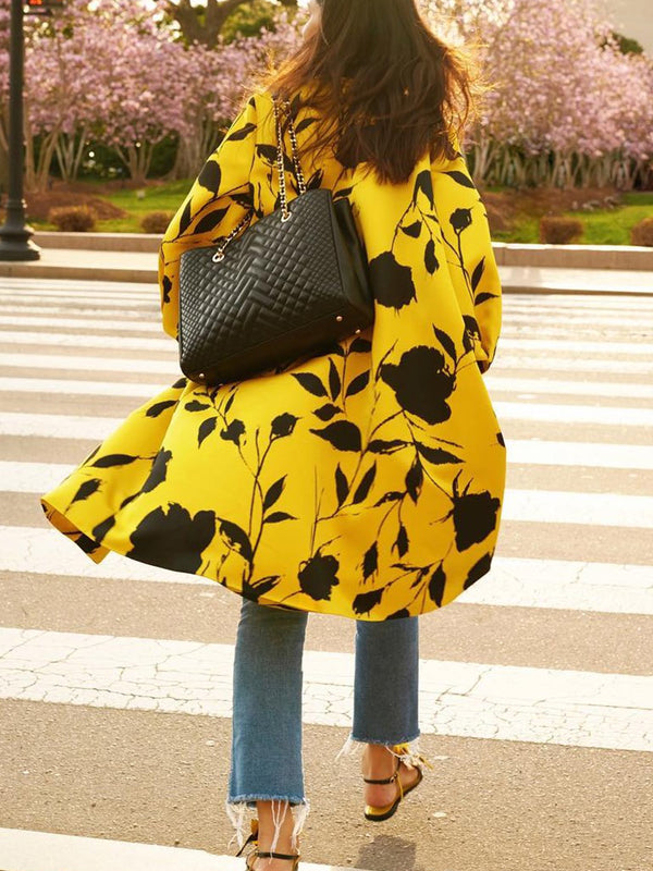 Yellow Casual Floral Outerwear