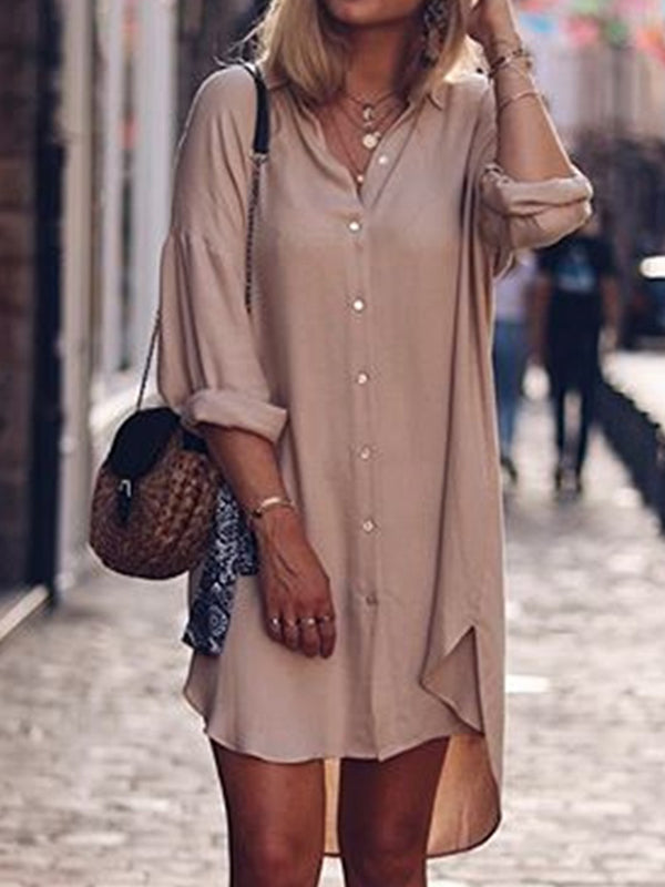 Plus Size Plain Long Sleeve Casual Midi Shirts