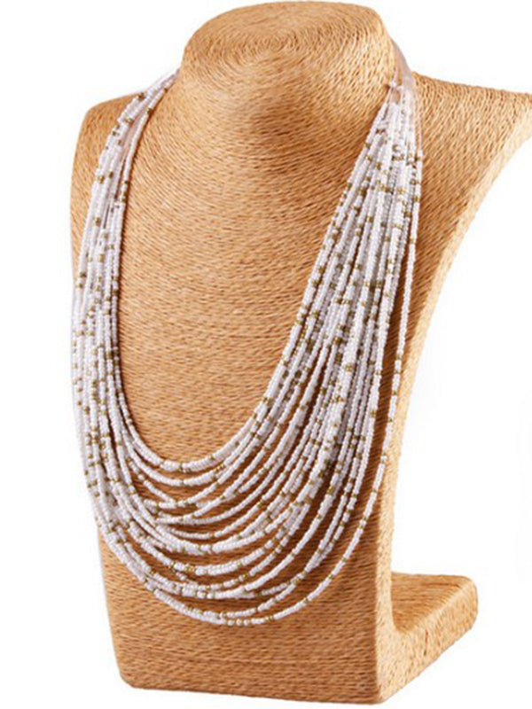 Bohemian Water Drop Multilayer Bead Necklace
