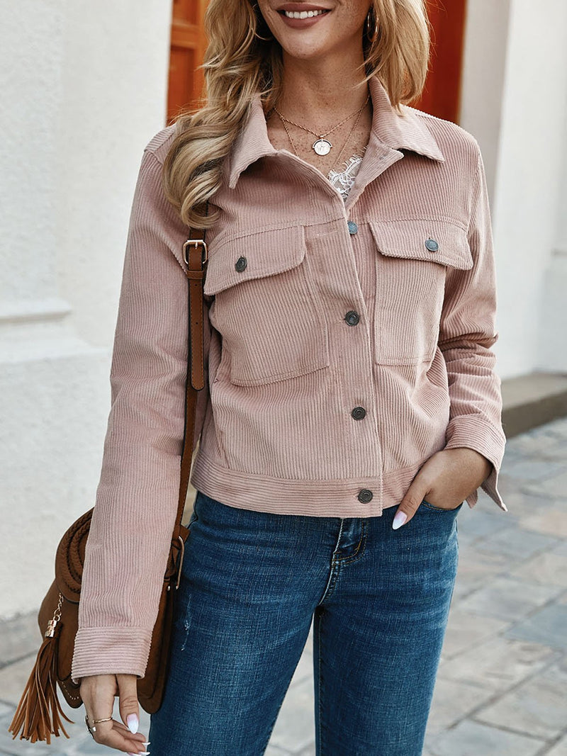 Pink Shift Casual Buttoned Outerwear
