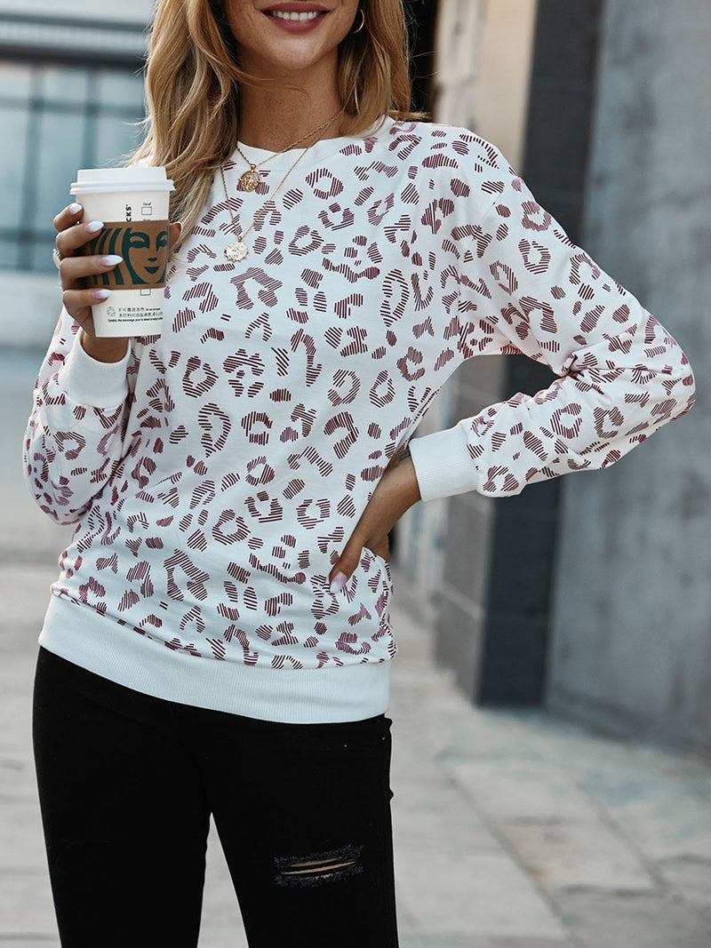 White Printed Long Sleeve Crew Neck Sweatshirt