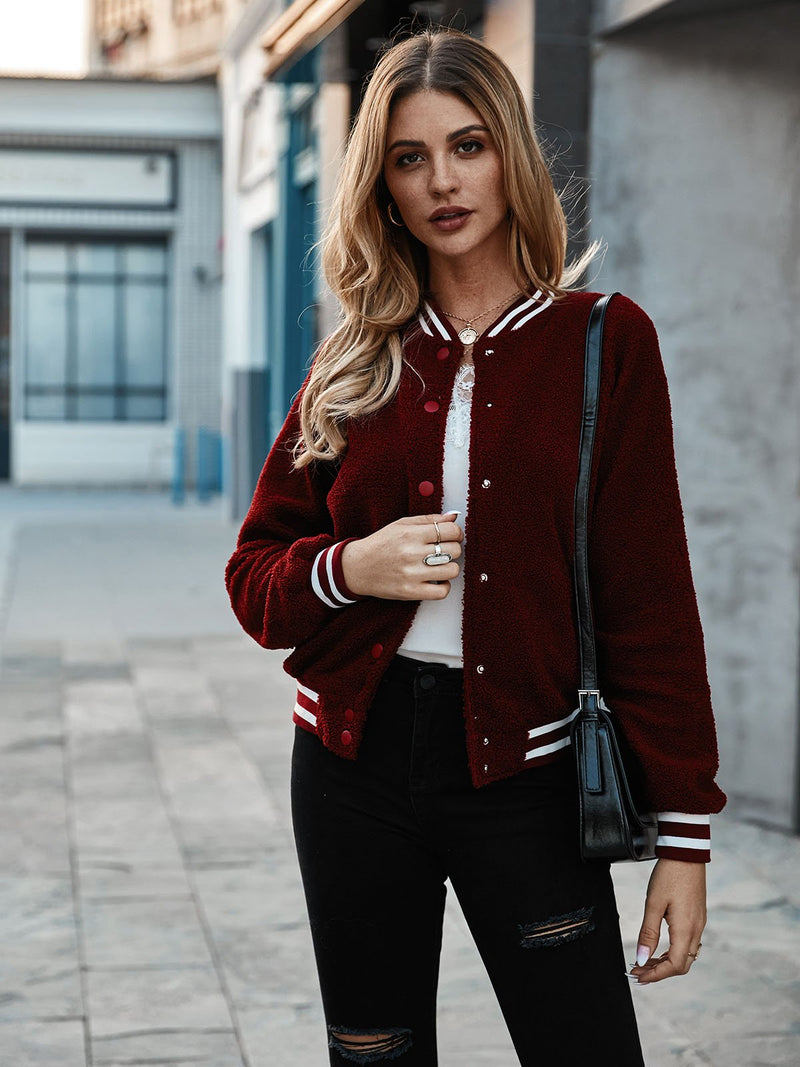 Red Casual Shift Jackets