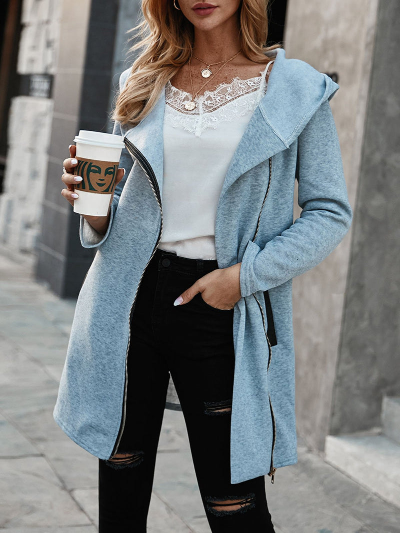 Gray Long Sleeve Solid Outerwear