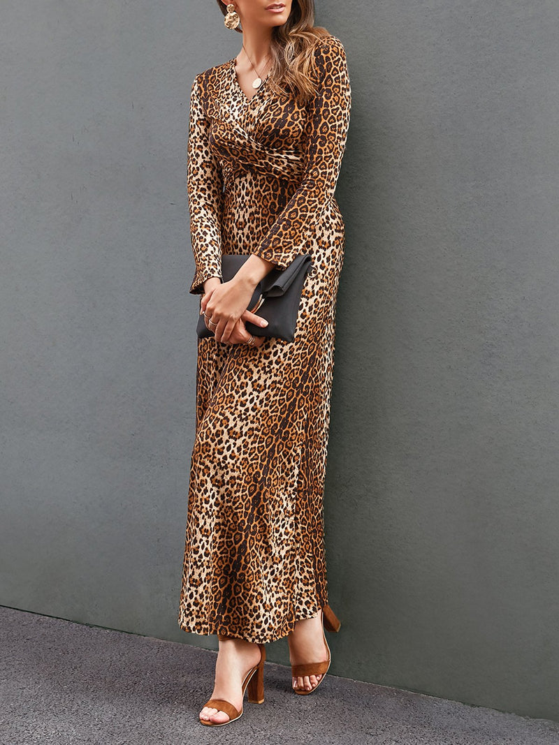 Women Leopard Print Long Sleeve Printed Dresses