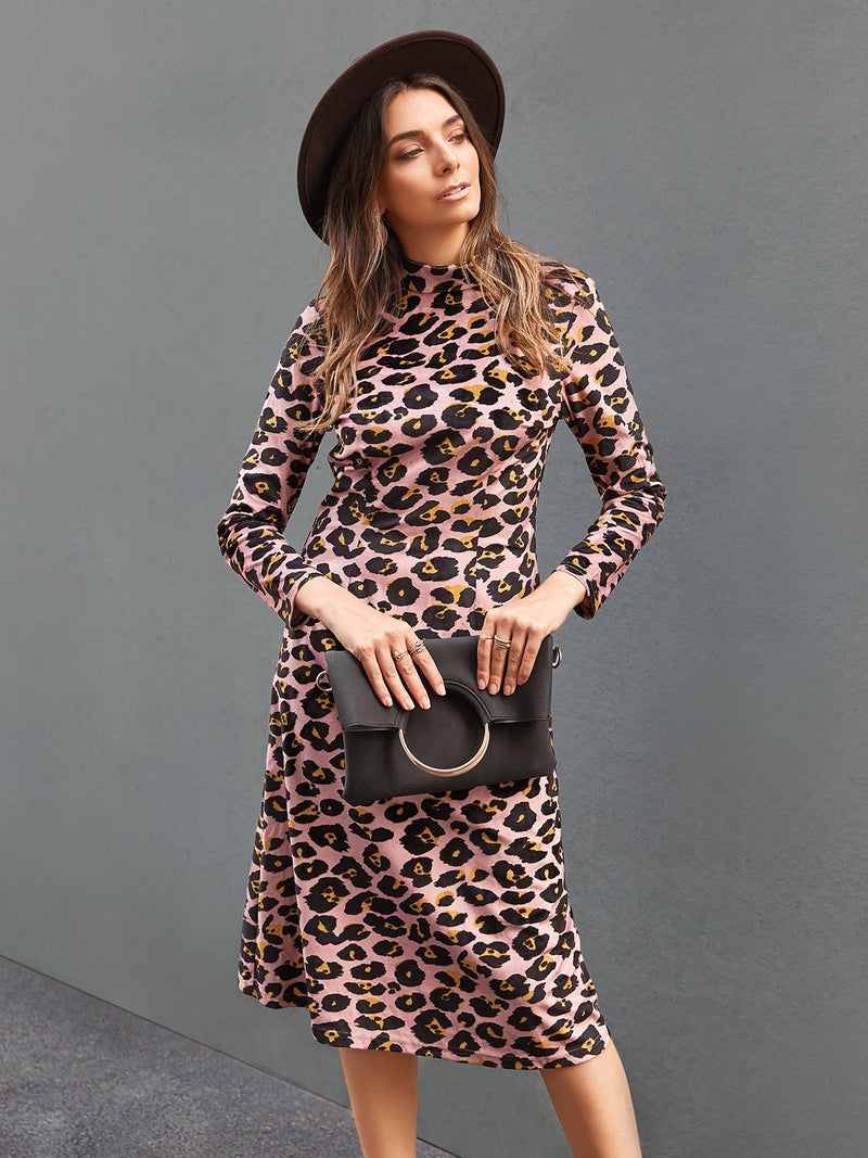 Women Leopard Print Casual Long Sleeve Stand Collar Dresses
