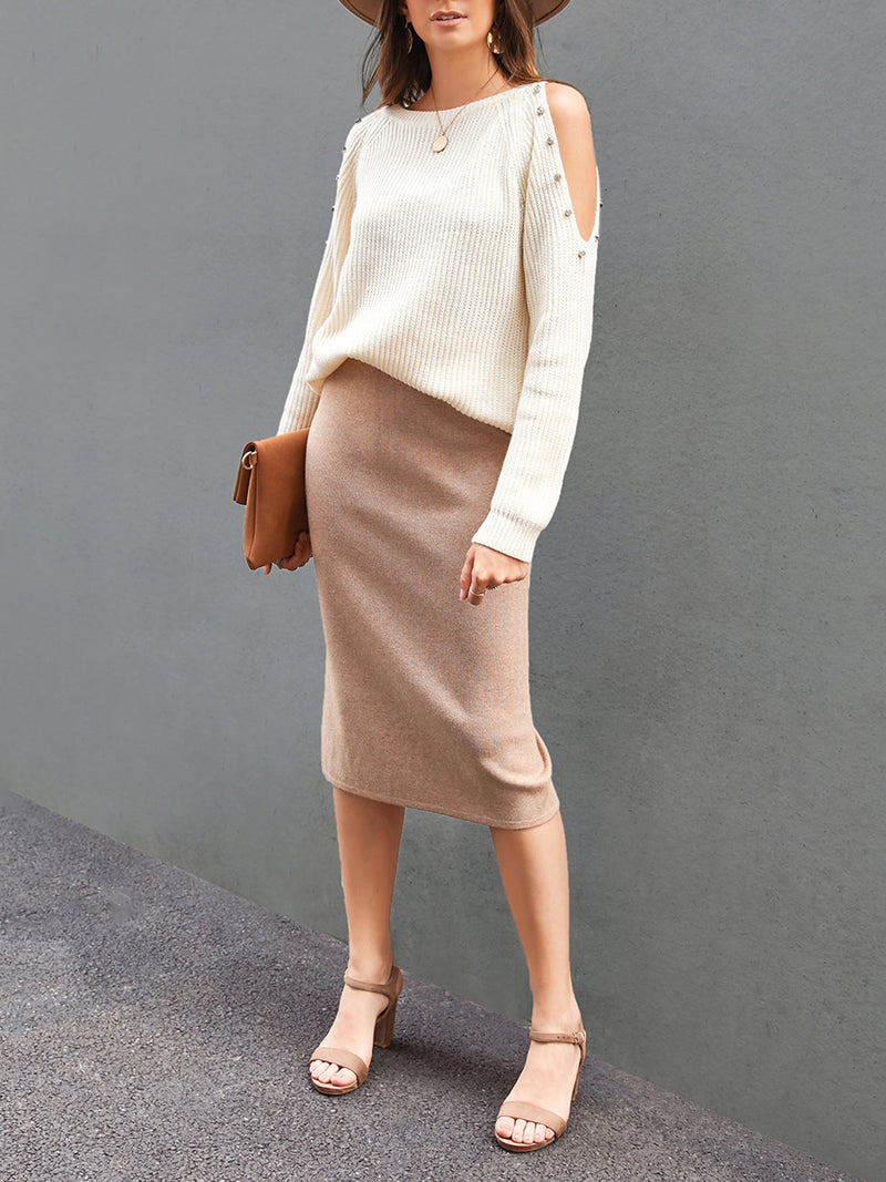 Women Plain Casual Bodycon Skirts