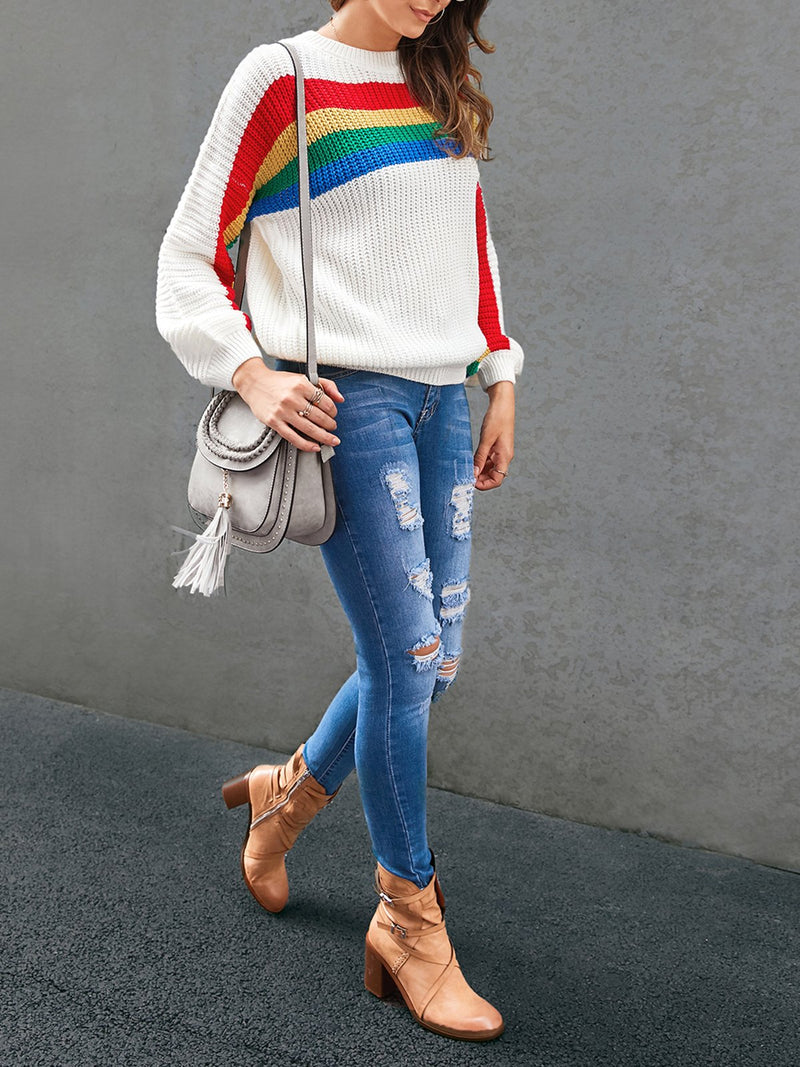 Women Striped Crew Neck Sweet Sweater