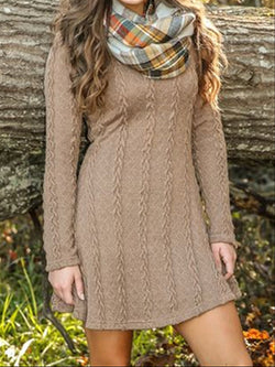 Autumn Winter Casual Vintage Knitted Dress