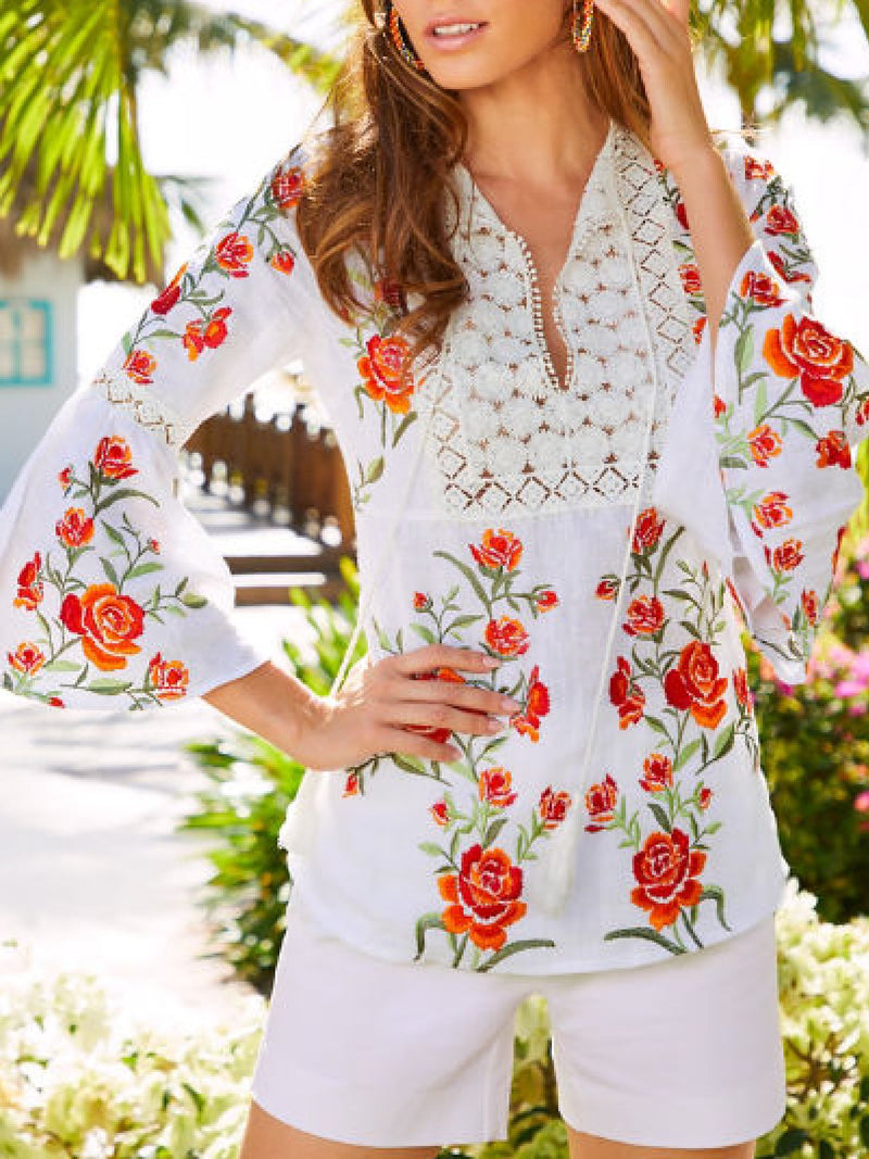 Casual Plus Size Floral Embroidery Bell Sleeves Blouse Shirt