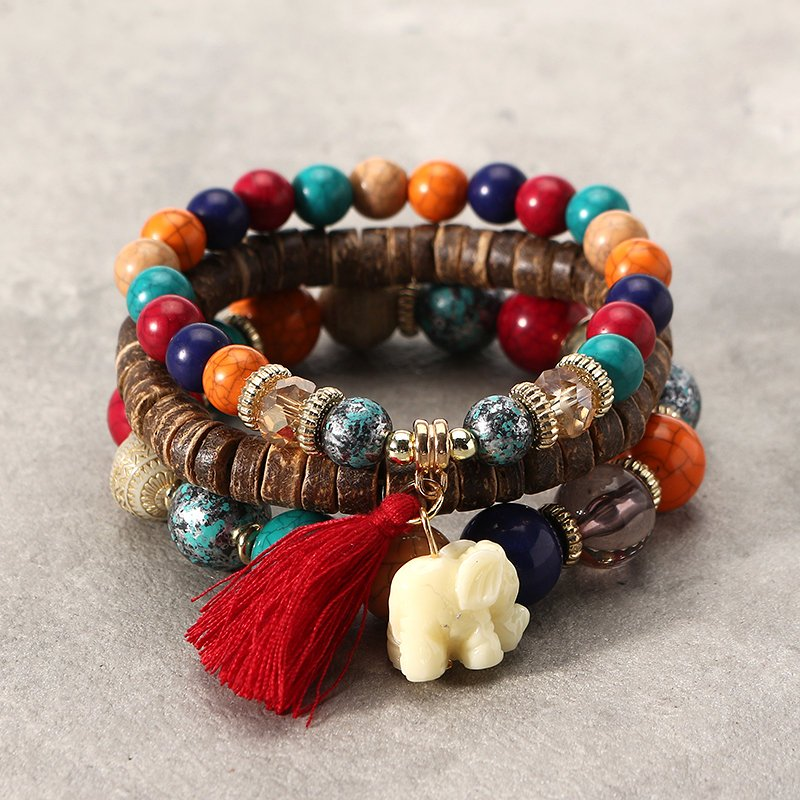 3 Pcs/set Bohemian Multilayer Beads Bracelet Wood Elastic Bracelet with Tassel Pendant Gift for Her
