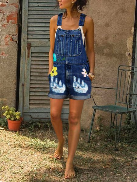Floral Casual Jeans Sleeveless Pants Denim Overalls