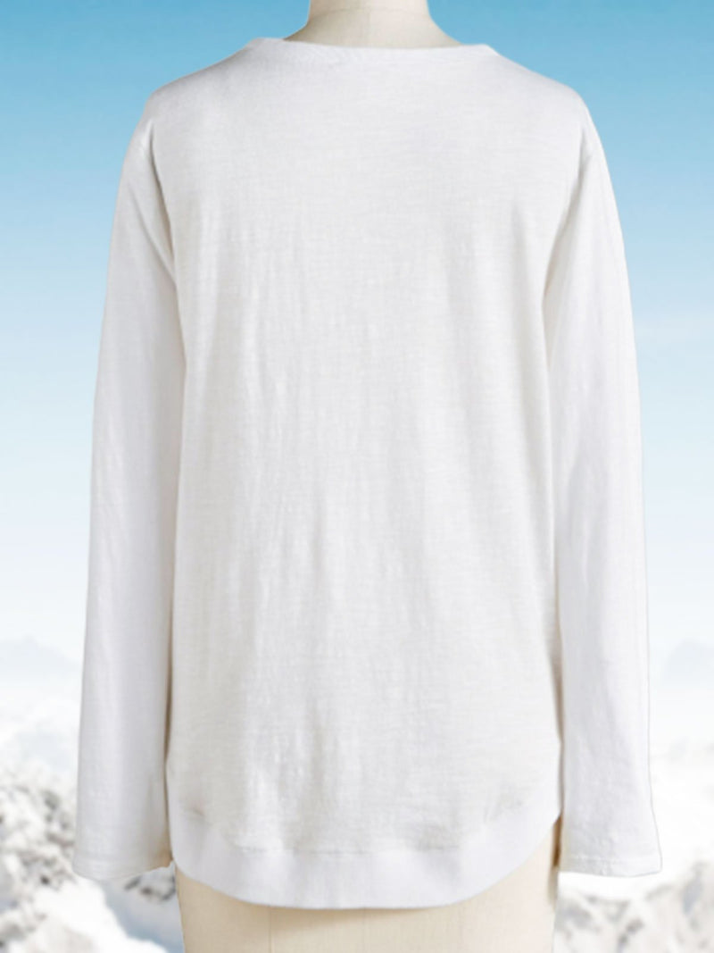 White Holiday Solid Round Neck Shirts & Tops