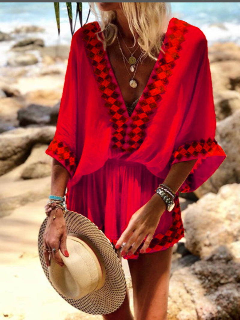 Bell Sleeve Shift V Neck Holiday Dresses