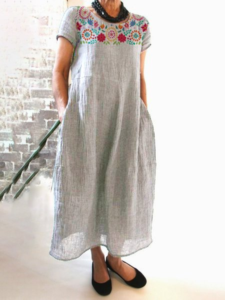 Floral-Printed Maxi Holiday Linen Dress