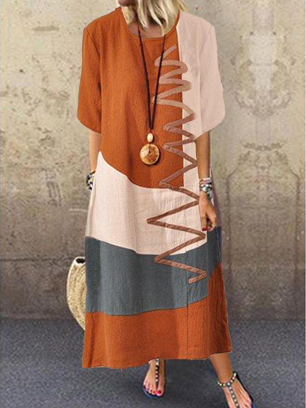 Women Holiday Cotton Half Sleeve Color-block Patchwork Maxi Dress