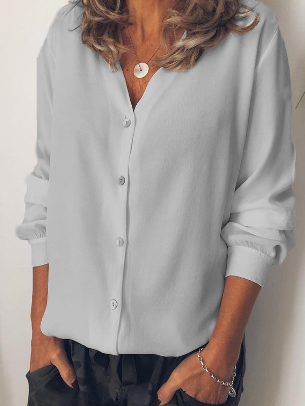White Solid Chiffon Casual Shirts & Tops