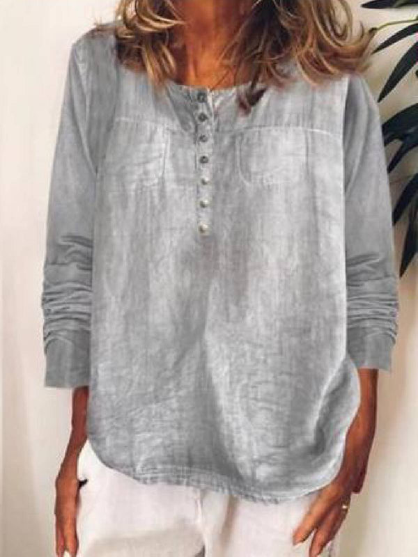 Gray Casual Denim Shirts & Tops