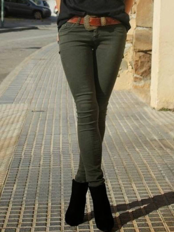 Army Green Plain Cotton-Blend Casual Pants