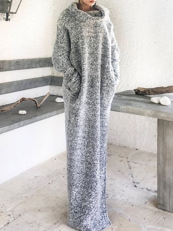 Light Gray Vintage Cowl Neck Cotton-Blend Dresses