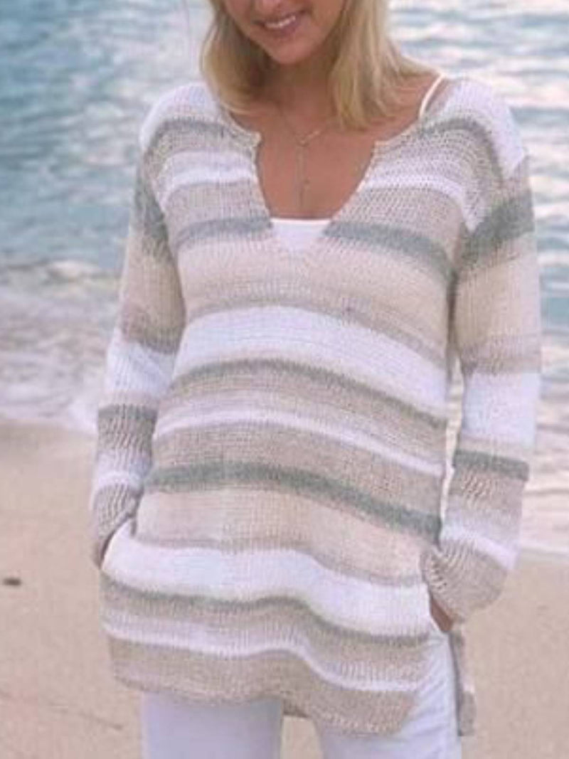 White Knitted Long Sleeve Shirts & Tops