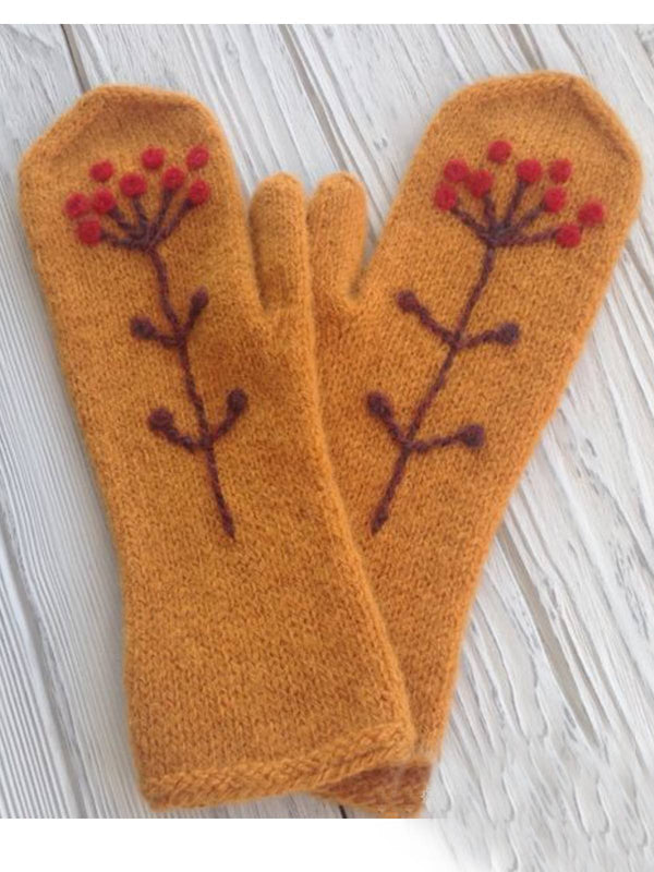 Yellow Tribal Cotton-Blend Women Gloves & Mittens
