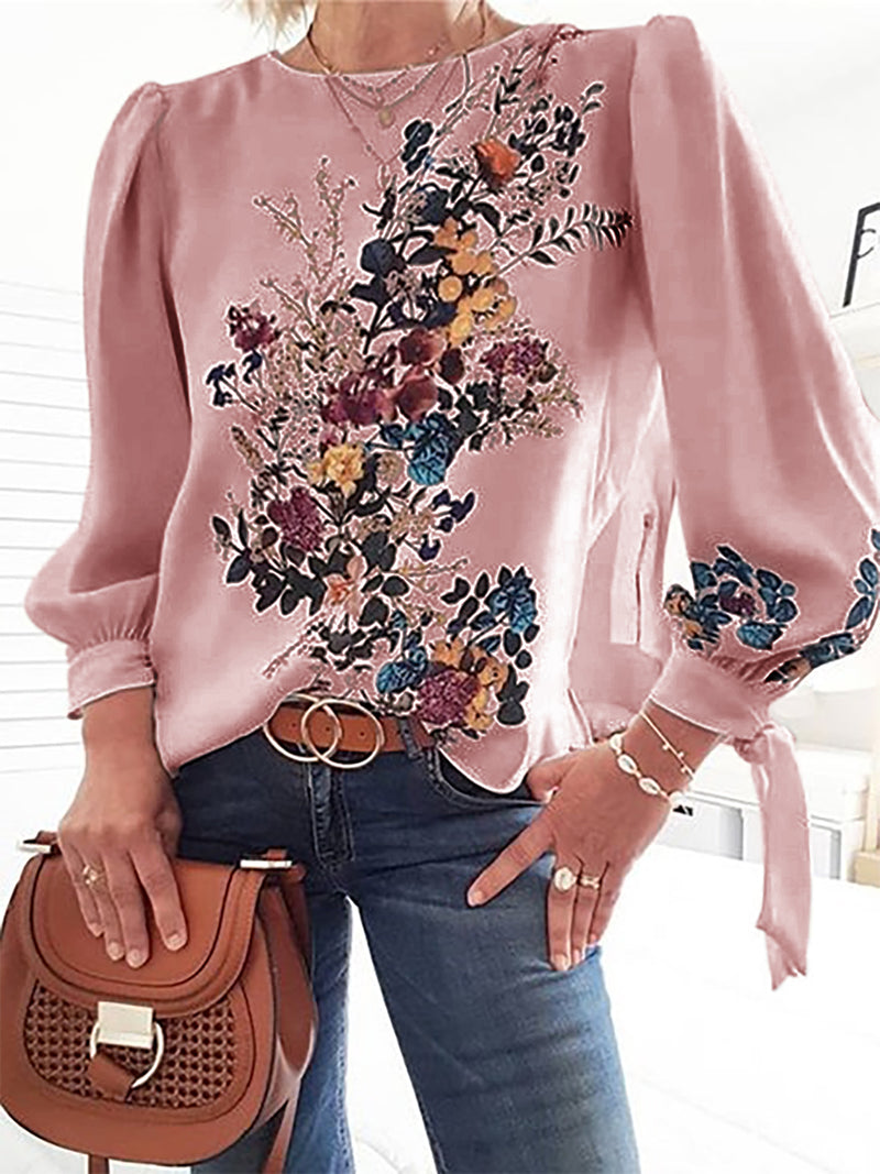 Plus Size Long Sleeve Floral Casual Tops
