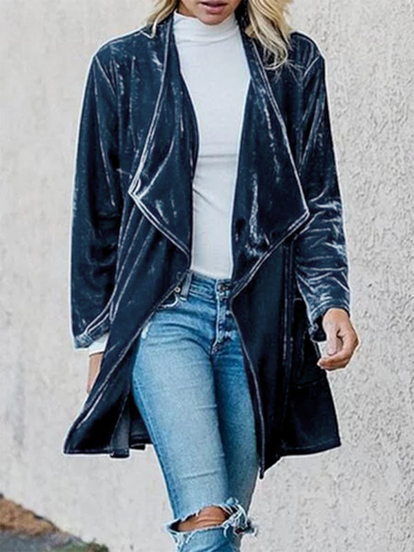 Plus Size Long Sleeve Velvet Casual Plain Outerwear