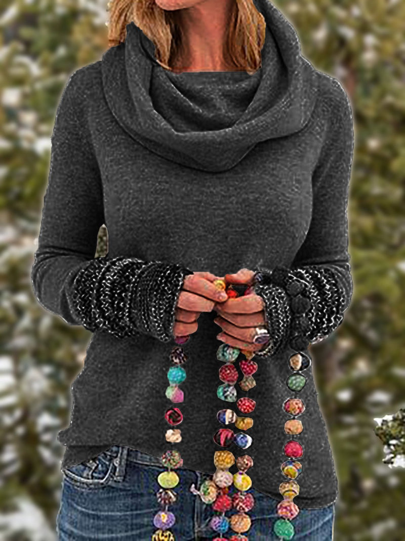 Women Tribal Vintage Cowl Neck Long Sleeve Plus Size Shirts