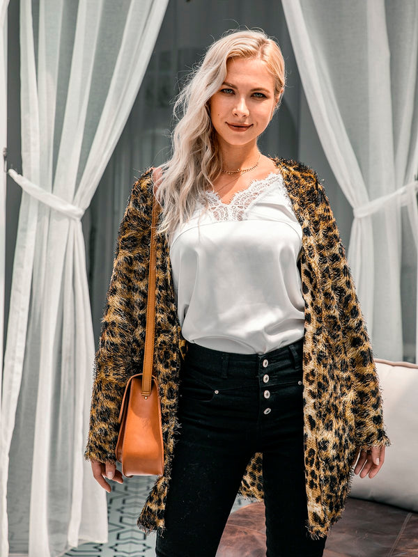 Pockets Long Sleeves Leopard Print Outerwear
