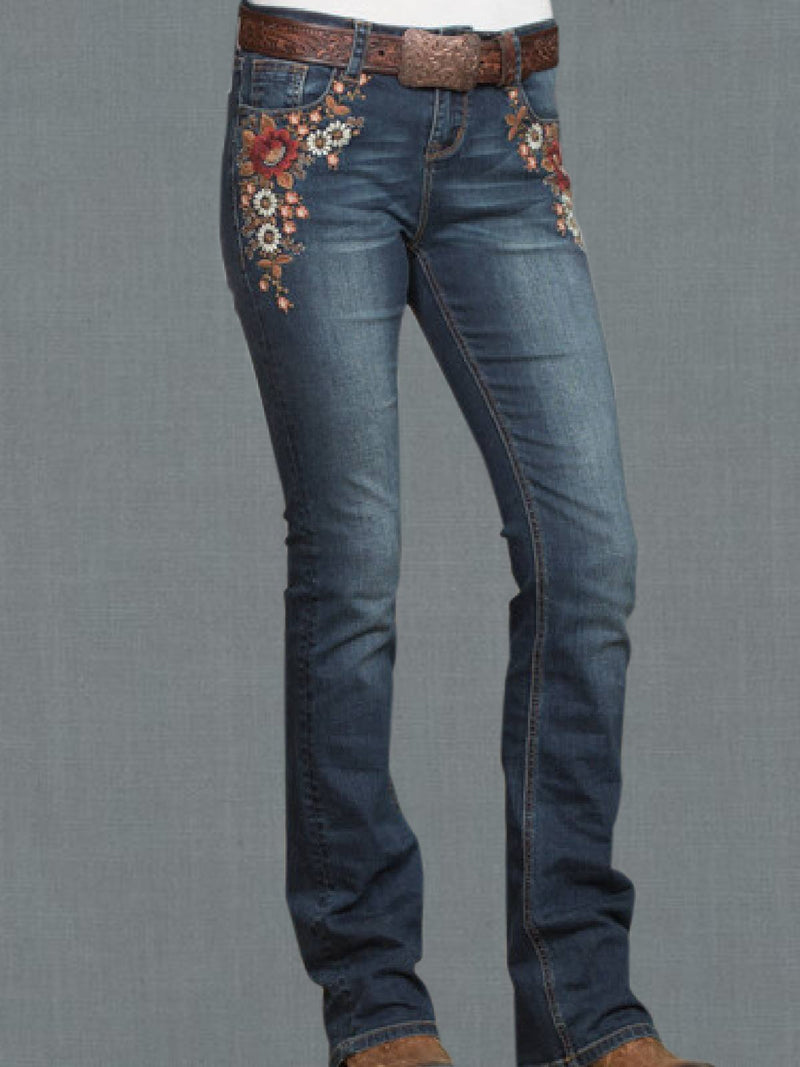 Gray Blue Casual Embroidered Denim Pants