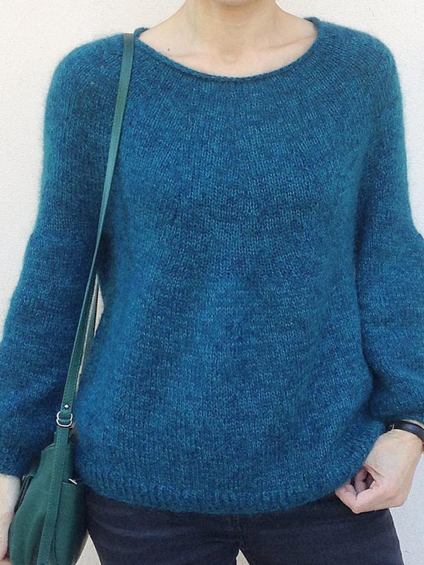Long Sleeve Round Neck Casual Solid Sweater