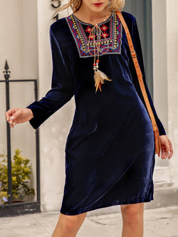 Women Velvet Long Sleeve V Neck Tribal Dresses