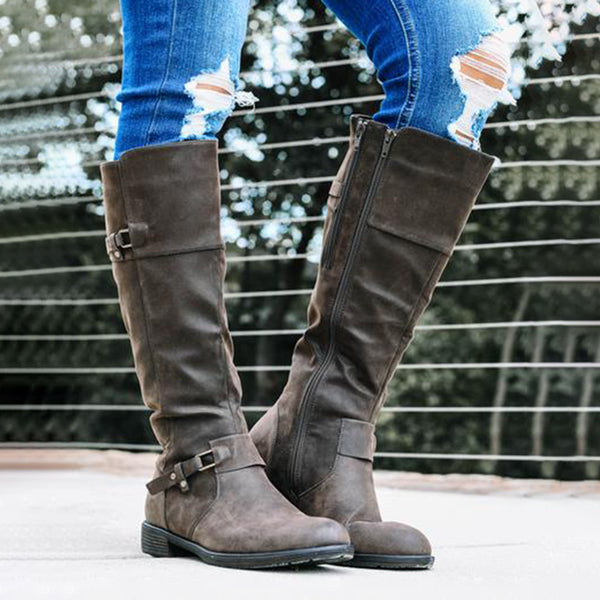 WOMEN CASUAL MID RISE ZIP BOOTS