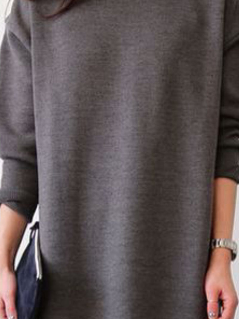 Long Sleeve Casual Round Neck Solid Tops