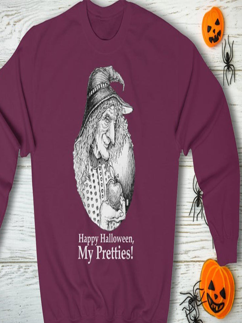 Plus Size Halloween Printed Casual Long Sleeve Tops