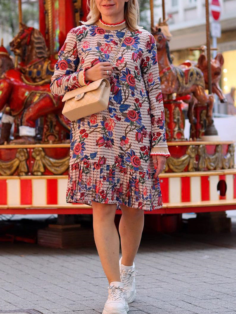 Multicolor Cotton-Blend Round Neck Floral Casual Dresses