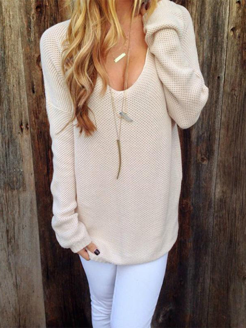 Pink Casual Knitted Sweater